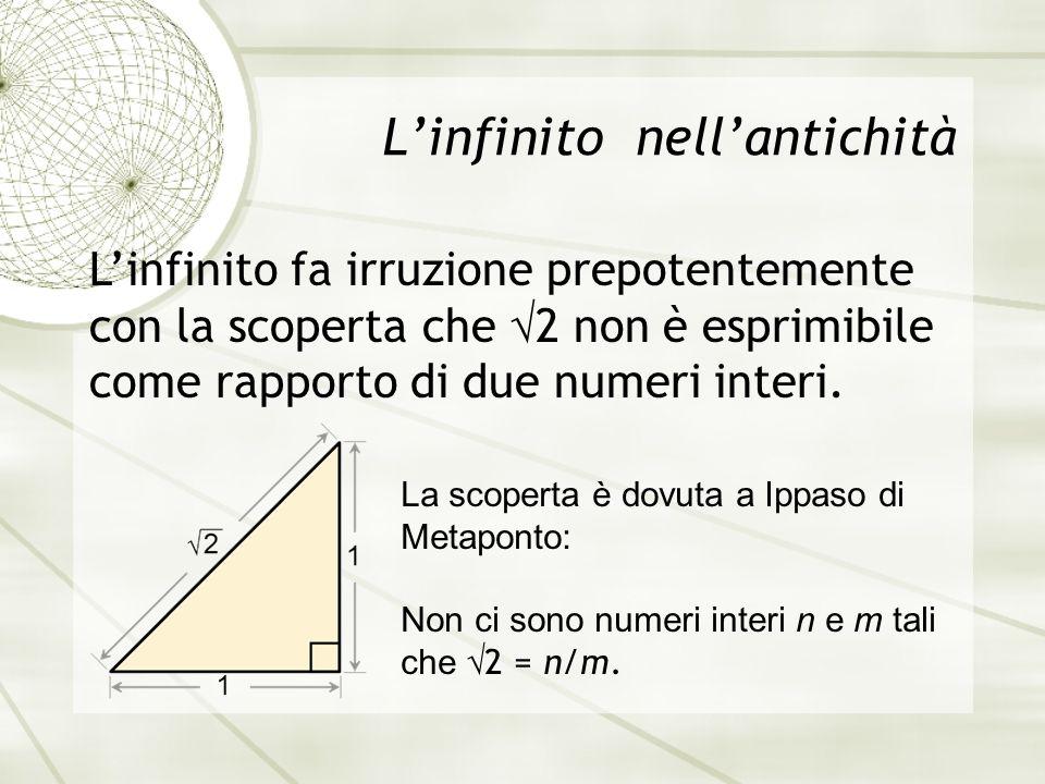 L'infinito nell'antichità L'infinito fa irruzione prepotentemente con la scoperta che  2 non è esprimibile come rapporto di due numeri interi.
