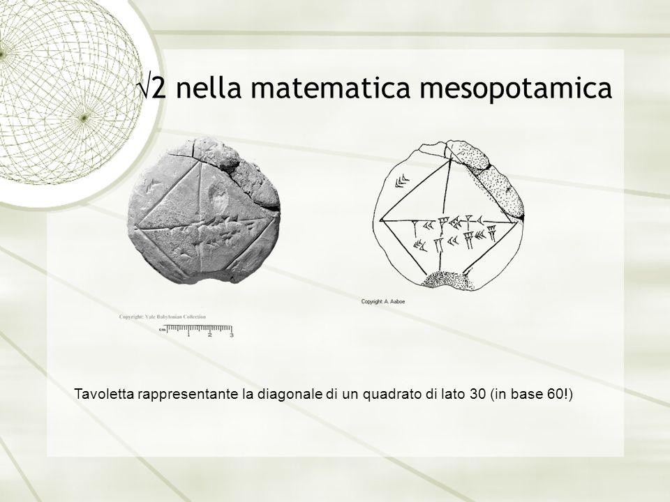 2 nella matematica mesopotamica Tavoletta rappresentante la diagonale di un quadrato di lato 30 (in base 60!)
