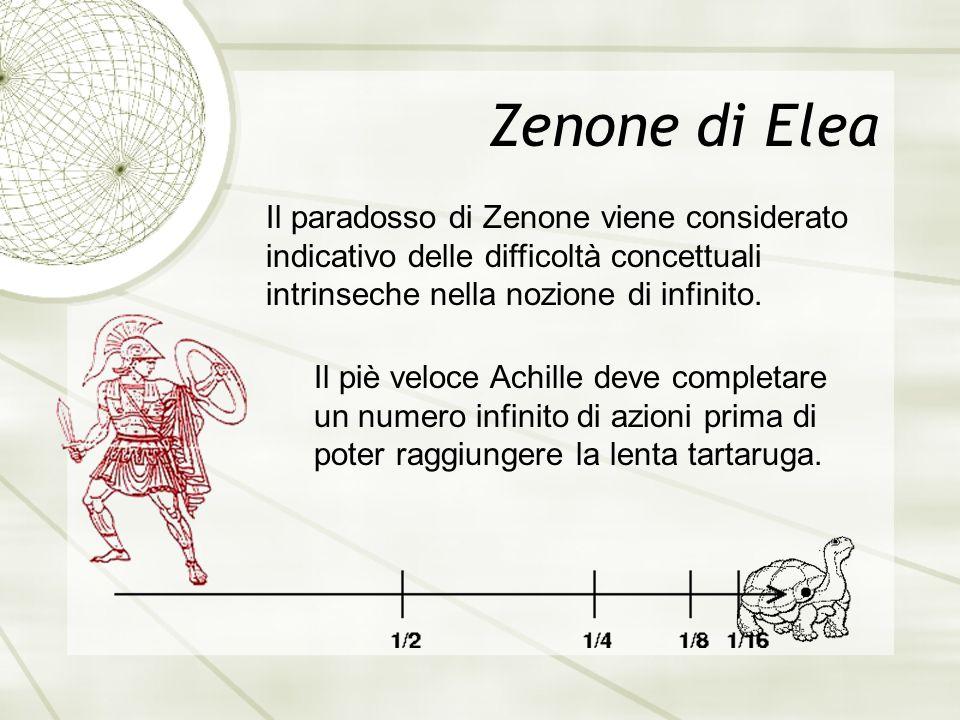 Zenone di Elea Il paradosso di Zenone viene considerato indicativo delle difficoltà concettuali intrinseche nella nozione di infinito.