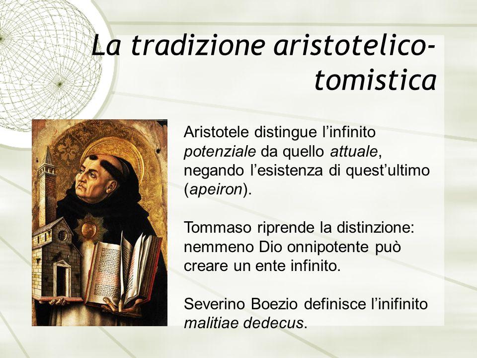 La tradizione aristotelico- tomistica Aristotele distingue l'infinito potenziale da quello attuale, negando l'esistenza di quest'ultimo (apeiron).
