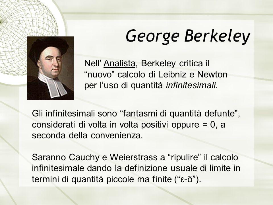 George Berkeley Nell' Analista, Berkeley critica il nuovo calcolo di Leibniz e Newton per l'uso di quantità infinitesimali.