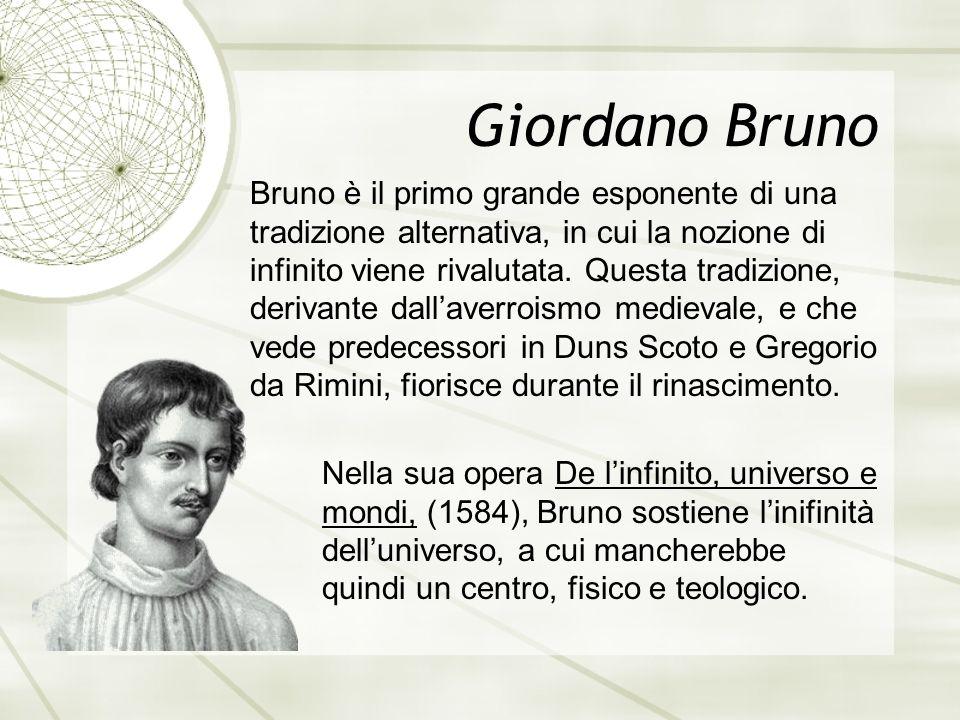Giordano Bruno Bruno è il primo grande esponente di una tradizione alternativa, in cui la nozione di infinito viene rivalutata.
