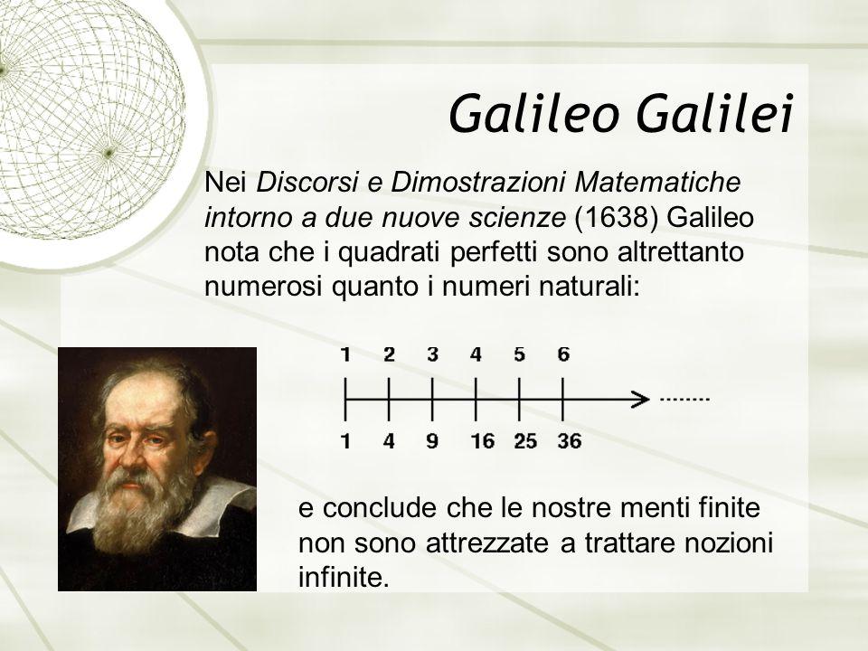 Galileo Galilei Nei Discorsi e Dimostrazioni Matematiche intorno a due nuove scienze (1638) Galileo nota che i quadrati perfetti sono altrettanto numerosi quanto i numeri naturali: e conclude che le nostre menti finite non sono attrezzate a trattare nozioni infinite.