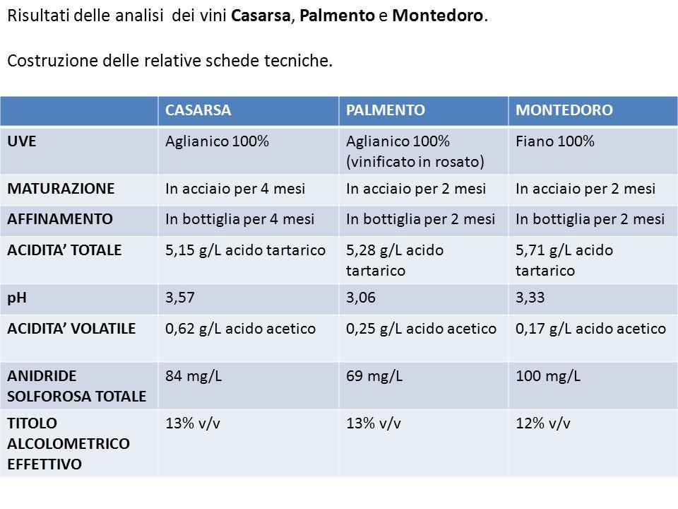 Risultati delle analisi dei vini Casarsa, Palmento e Montedoro. Costruzione delle relative schede tecniche. CASARSAPALMENTOMONTEDORO UVEAglianico 100%
