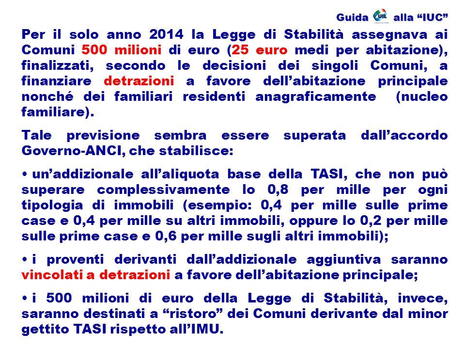 """Guida alla """"IUC"""" Per il solo anno 2014 la Legge di Stabilità assegnava ai Comuni 500 milioni di euro (25 euro medi per abitazione), finalizzati, secon"""