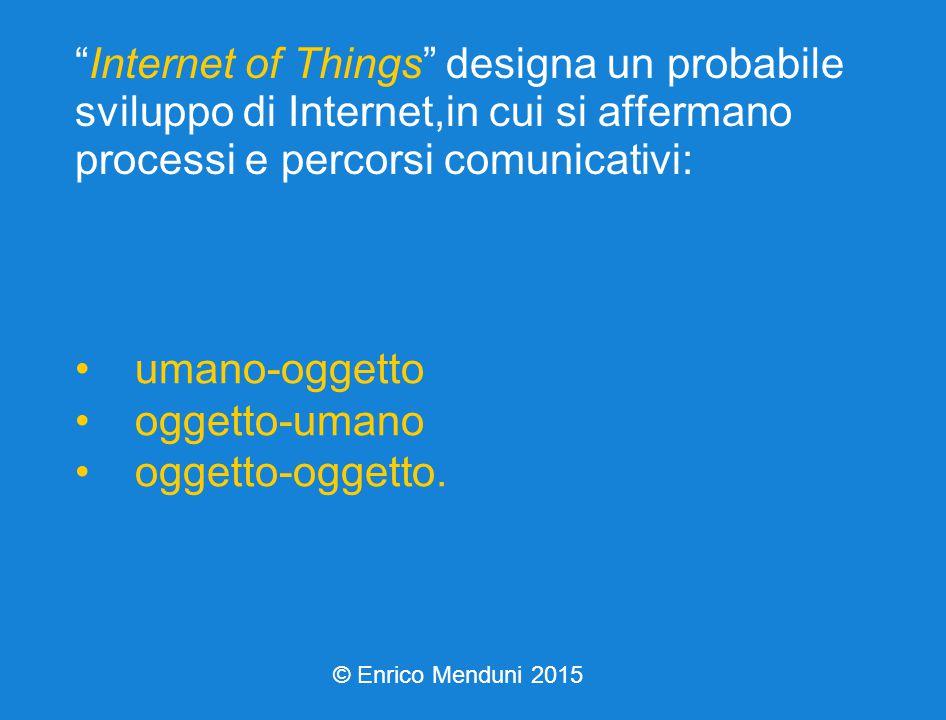 Internet of Things designa un probabile sviluppo di Internet,in cui si affermano processi e percorsi comunicativi: umano-oggetto oggetto-umano oggetto-oggetto.