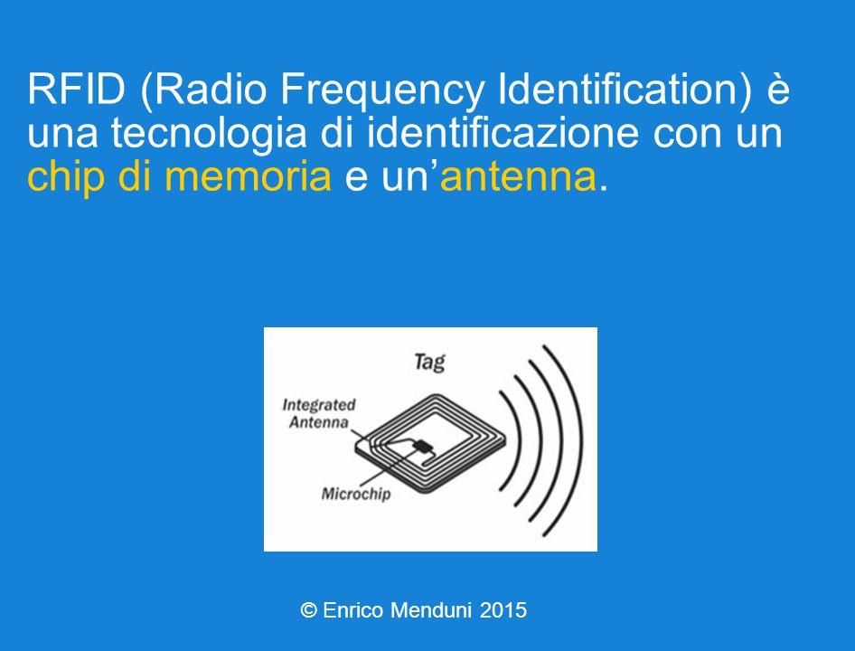 RFID (Radio Frequency Identification) è una tecnologia di identificazione con un chip di memoria e un'antenna.