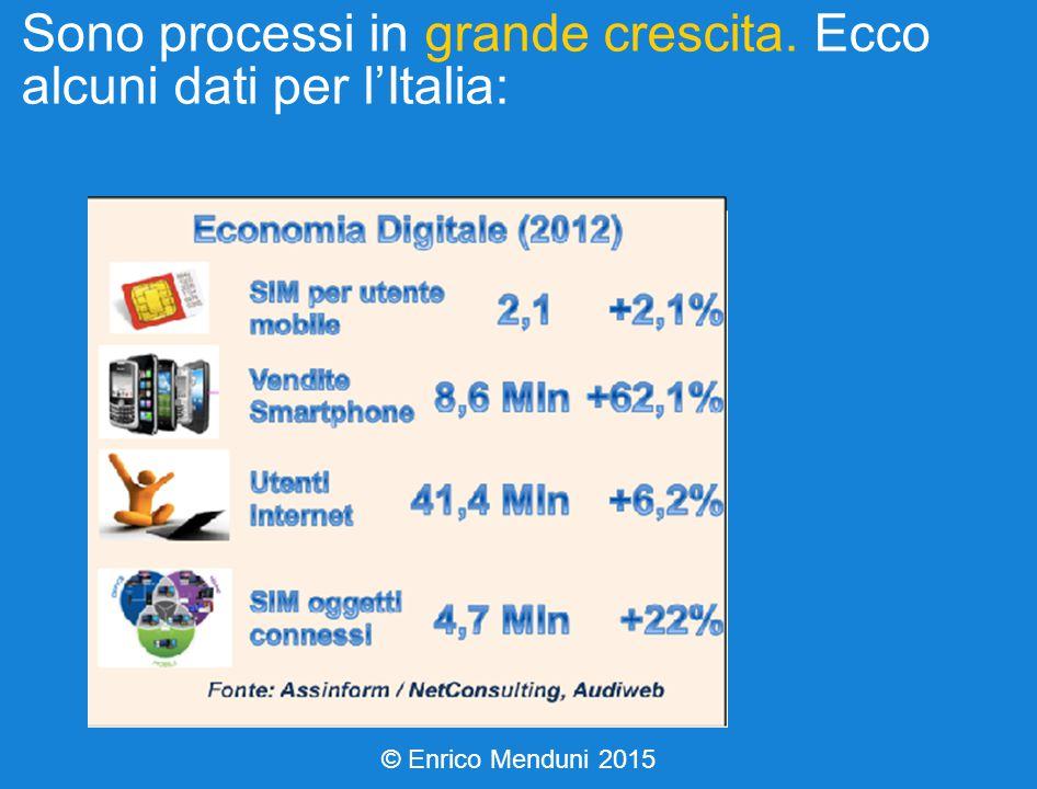Sono processi in grande crescita. Ecco alcuni dati per l'Italia: © Enrico Menduni 2015