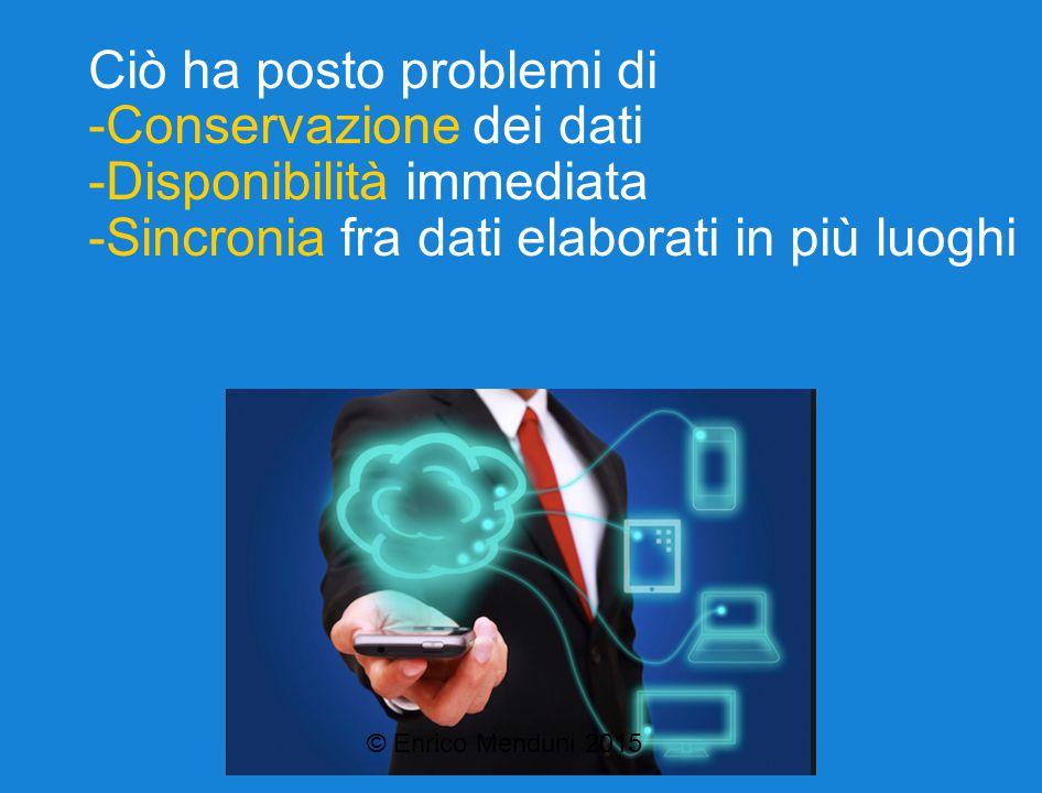 Ciò ha posto problemi di -Conservazione dei dati -Disponibilità immediata -Sincronia fra dati elaborati in più luoghi © Enrico Menduni 2015