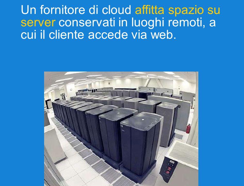 Un fornitore di cloud affitta spazio su server conservati in luoghi remoti, a cui il cliente accede via web.