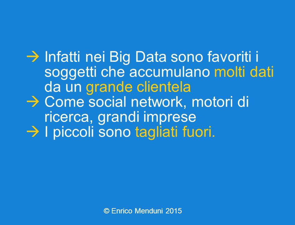  Infatti nei Big Data sono favoriti i soggetti che accumulano molti dati da un grande clientela  Come social network, motori di ricerca, grandi imprese  I piccoli sono tagliati fuori.