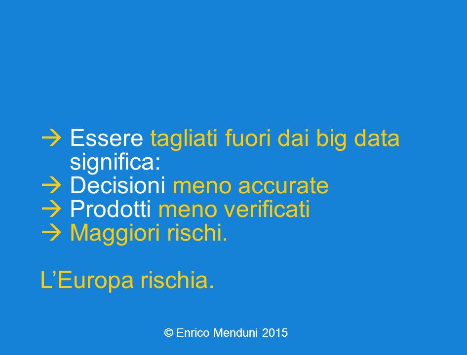  Essere tagliati fuori dai big data significa:  Decisioni meno accurate  Prodotti meno verificati  Maggiori rischi.