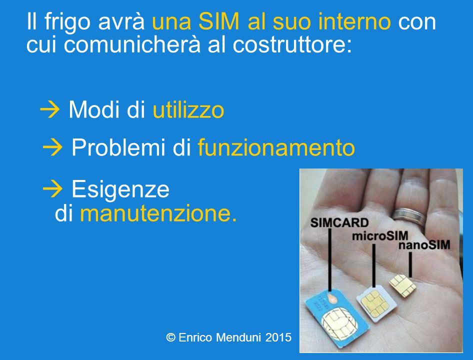 Il frigo avrà una SIM al suo interno con cui comunicherà al costruttore:  Modi di utilizzo  Problemi di funzionamento  Esigenze di manutenzione.