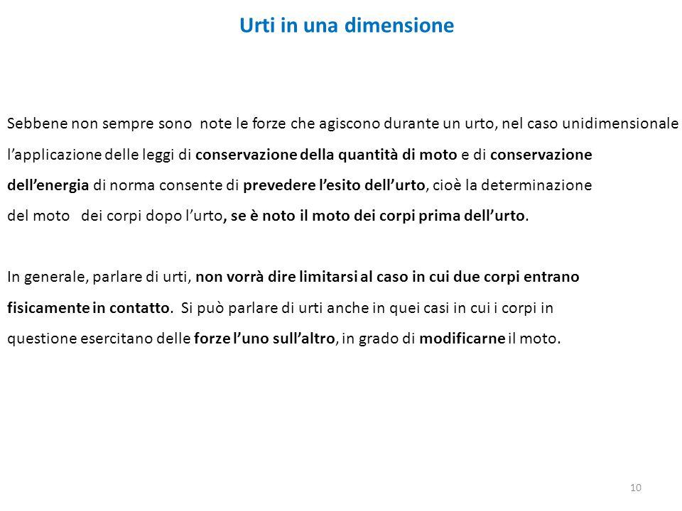 Urti in una dimensione Sebbene non sempre sono note le forze che agiscono durante un urto, nel caso unidimensionale l'applicazione delle leggi di cons
