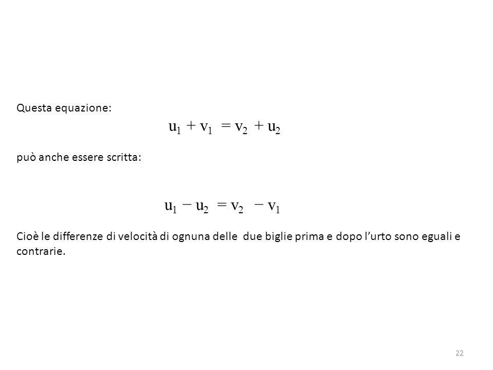 Questa equazione: u 1 + v 1 = v 2 + u 2 può anche essere scritta: u 1 − u 2 = v 2 − v 1 Cioè le differenze di velocità di ognuna delle due biglie prim