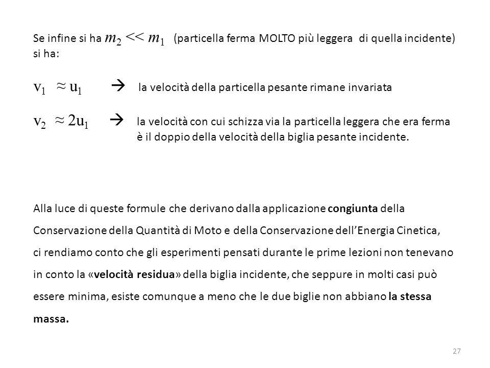 Se infine si ha m 2 << m 1 (particella ferma MOLTO più leggera di quella incidente) si ha: v 1 ≈ u 1  la velocità della particella pesante rimane inv