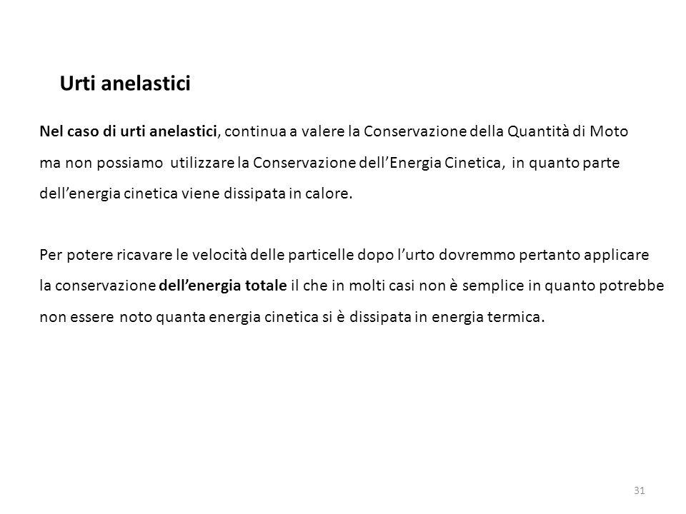 31 Nel caso di urti anelastici, continua a valere la Conservazione della Quantità di Moto ma non possiamo utilizzare la Conservazione dell'Energia Cin