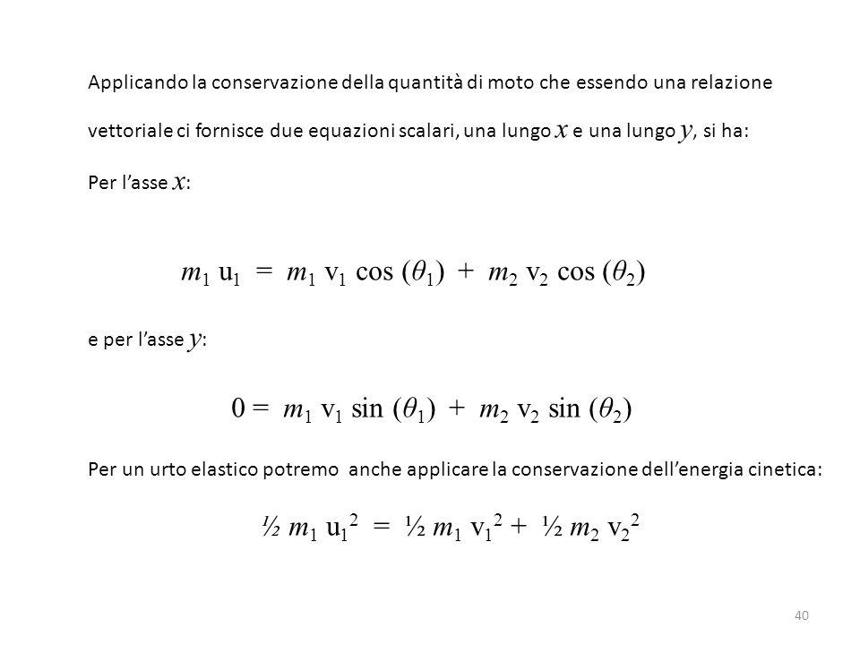 40 Applicando la conservazione della quantità di moto che essendo una relazione vettoriale ci fornisce due equazioni scalari, una lungo x e una lungo