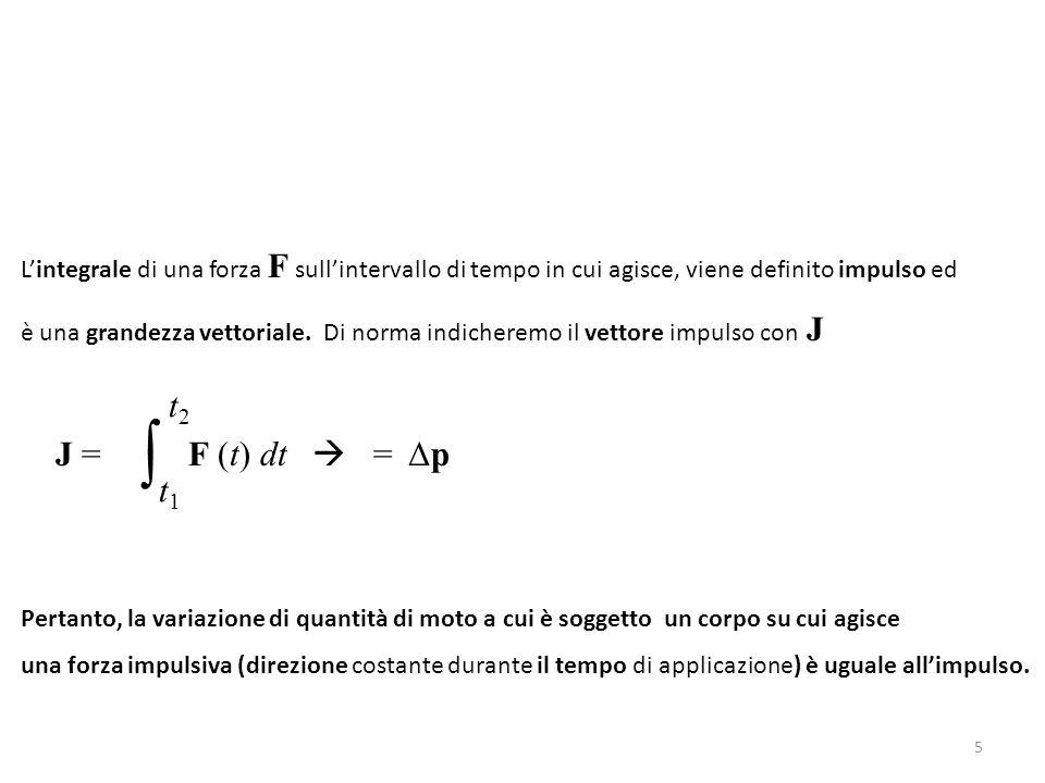 L'integrale di una forza F sull'intervallo di tempo in cui agisce, viene definito impulso ed è una grandezza vettoriale. Di norma indicheremo il vetto