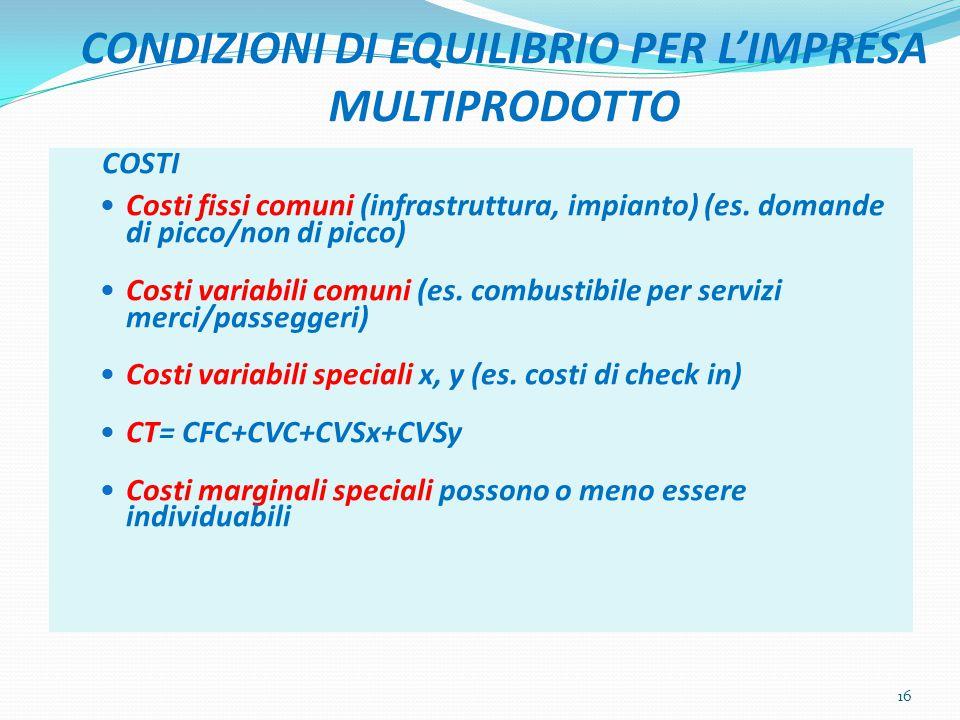 CONDIZIONI DI EQUILIBRIO PER L'IMPRESA MULTIPRODOTTO COSTI Costi fissi comuni (infrastruttura, impianto) (es.
