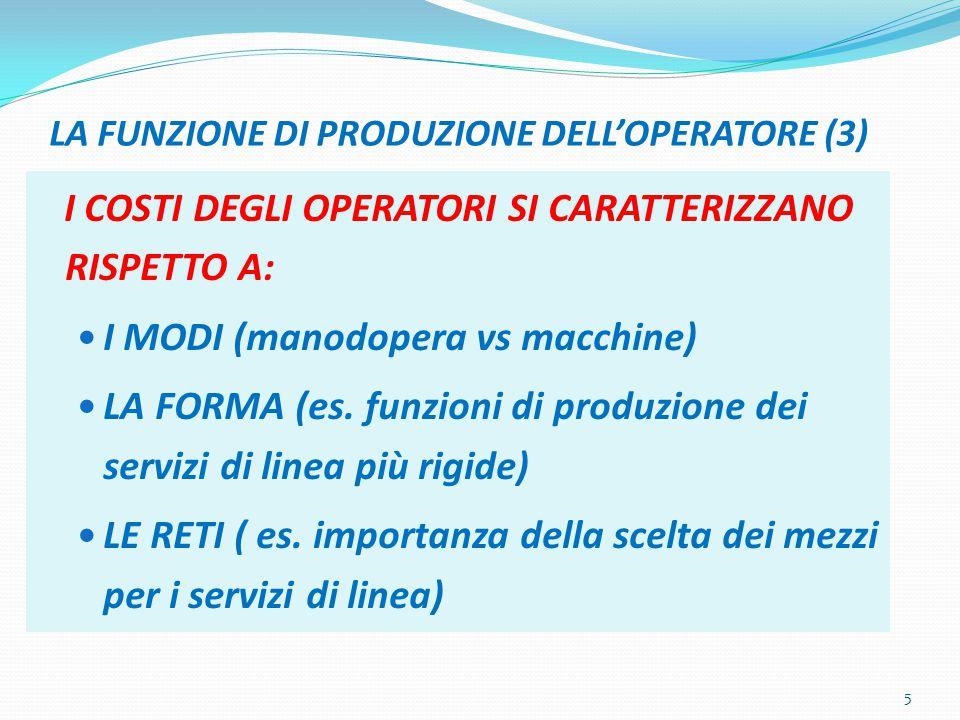 LA FUNZIONE DI PRODUZIONE DELL'OPERATORE (3) I COSTI DEGLI OPERATORI SI CARATTERIZZANO RISPETTO A: I MODI (manodopera vs macchine) LA FORMA (es.