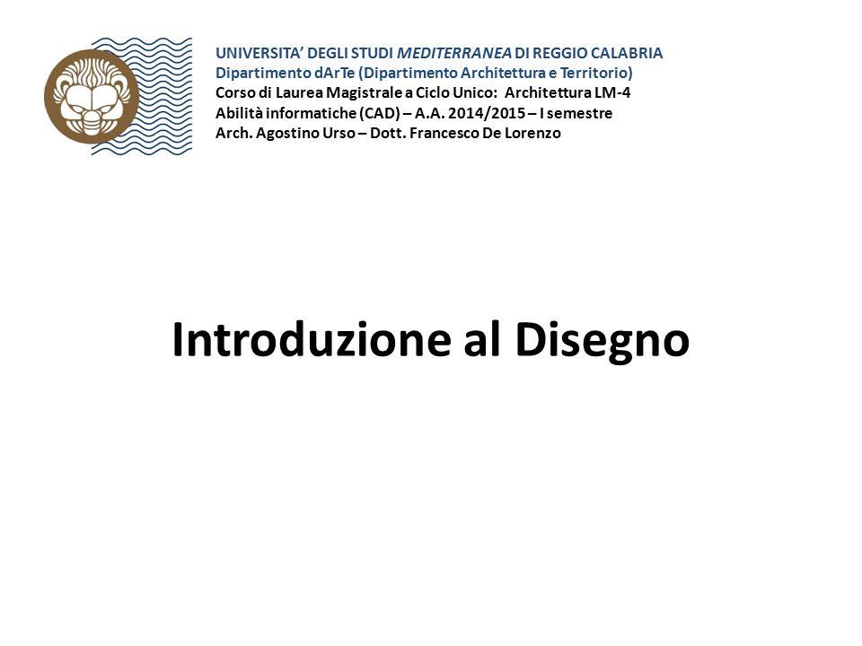 Introduzione al Disegno UNIVERSITA' DEGLI STUDI MEDITERRANEA DI REGGIO CALABRIA Dipartimento dArTe (Dipartimento Architettura e Territorio) Corso di L