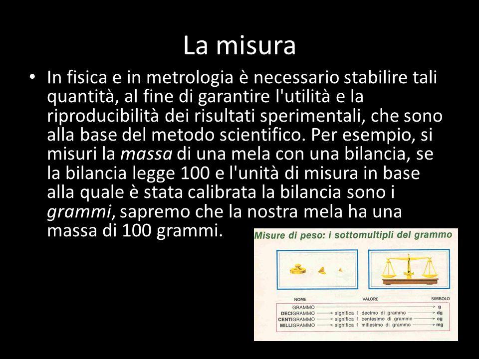 La misura In fisica e in metrologia è necessario stabilire tali quantità, al fine di garantire l utilità e la riproducibilità dei risultati sperimentali, che sono alla base del metodo scientifico.