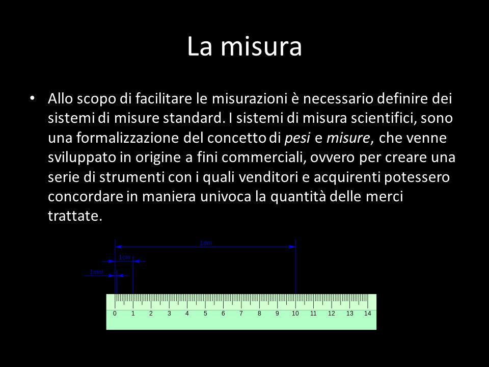La misura Allo scopo di facilitare le misurazioni è necessario definire dei sistemi di misure standard. I sistemi di misura scientifici, sono una form