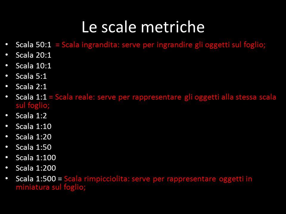 Le scale metriche Scala 50:1 = Scala ingrandita: serve per ingrandire gli oggetti sul foglio; Scala 20:1 Scala 10:1 Scala 5:1 Scala 2:1 Scala 1:1 = Scala reale: serve per rappresentare gli oggetti alla stessa scala sul foglio; Scala 1:2 Scala 1:10 Scala 1:20 Scala 1:50 Scala 1:100 Scala 1:200 Scala 1:500 = Scala rimpicciolita: serve per rappresentare oggetti in miniatura sul foglio;