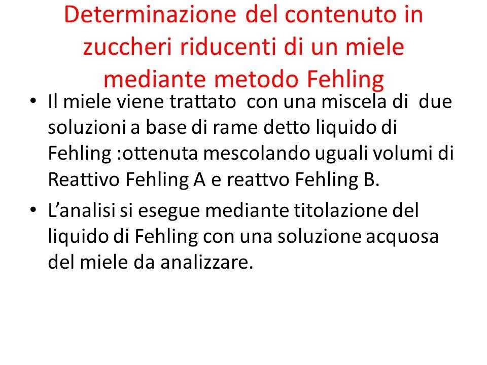 Determinazione del contenuto in zuccheri riducenti di un miele mediante metodo Fehling Il miele viene trattato con una miscela di due soluzioni a base di rame detto liquido di Fehling :ottenuta mescolando uguali volumi di Reattivo Fehling A e reattvo Fehling B.