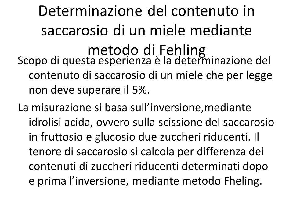 Determinazione del contenuto in saccarosio di un miele mediante metodo di Fehling Scopo di questa esperienza è la determinazione del contenuto di saccarosio di un miele che per legge non deve superare il 5%.