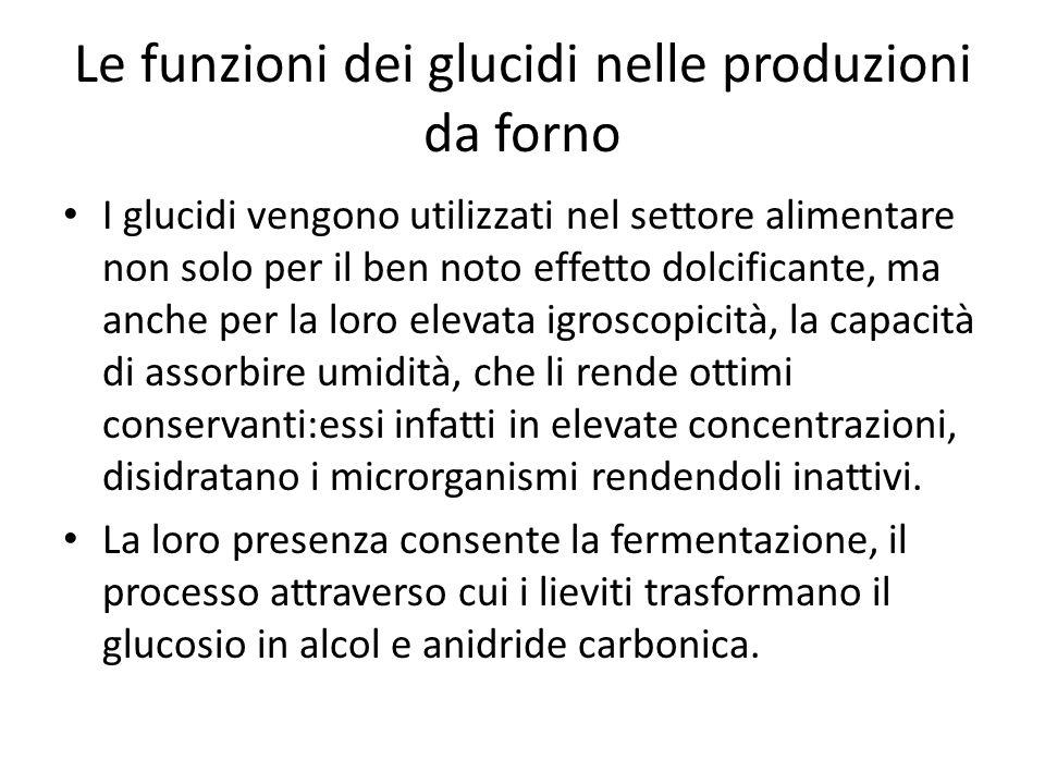 Le funzioni dei glucidi nelle produzioni da forno I glucidi vengono utilizzati nel settore alimentare non solo per il ben noto effetto dolcificante, m