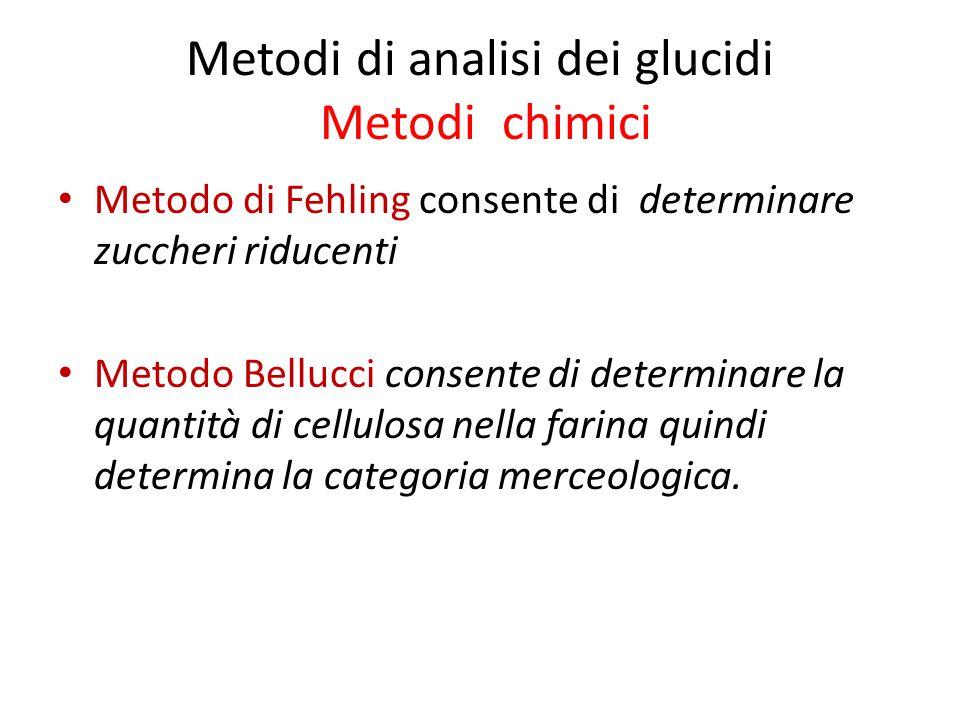 Metodi di analisi dei glucidi Metodi chimici Metodo di Fehling consente di determinare zuccheri riducenti Metodo Bellucci consente di determinare la quantità di cellulosa nella farina quindi determina la categoria merceologica.