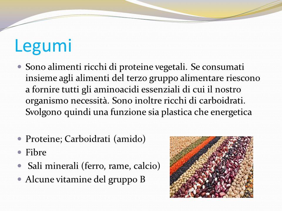 Legumi Sono alimenti ricchi di proteine vegetali. Se consumati insieme agli alimenti del terzo gruppo alimentare riescono a fornire tutti gli aminoaci