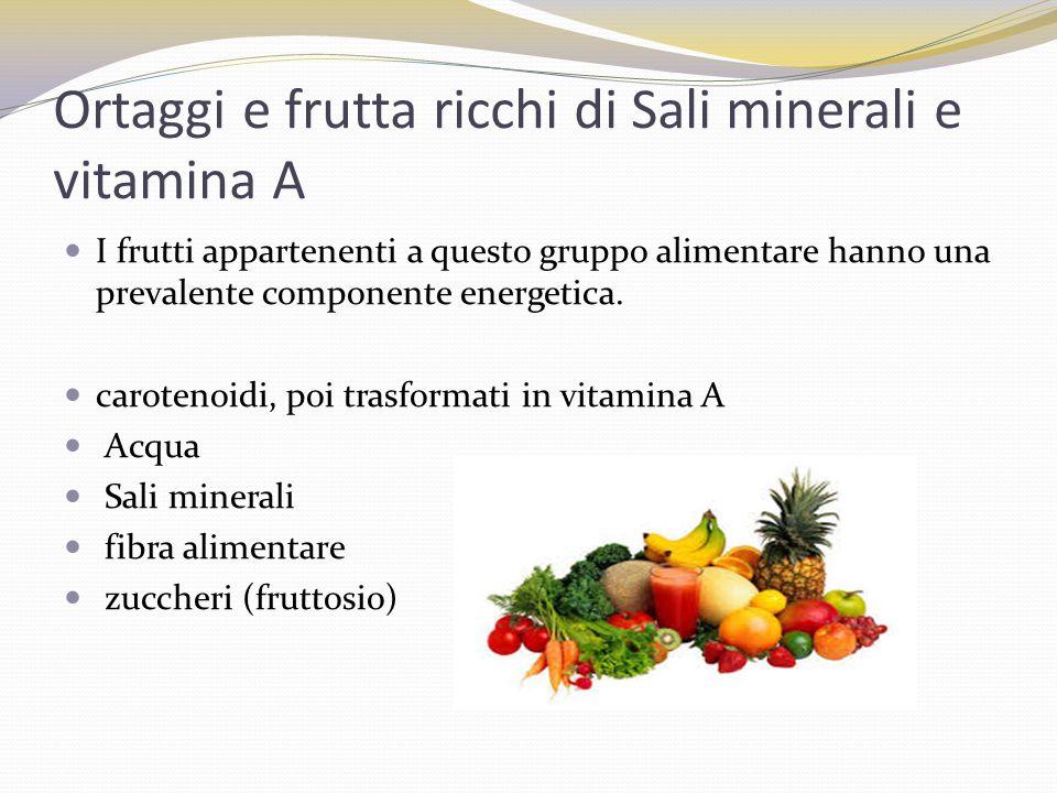 Ortaggi e frutta ricchi di Sali minerali e vitamina A I frutti appartenenti a questo gruppo alimentare hanno una prevalente componente energetica. car