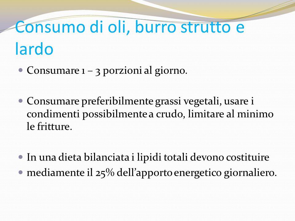 Consumo di oli, burro strutto e lardo Consumare 1 – 3 porzioni al giorno. Consumare preferibilmente grassi vegetali, usare i condimenti possibilmente
