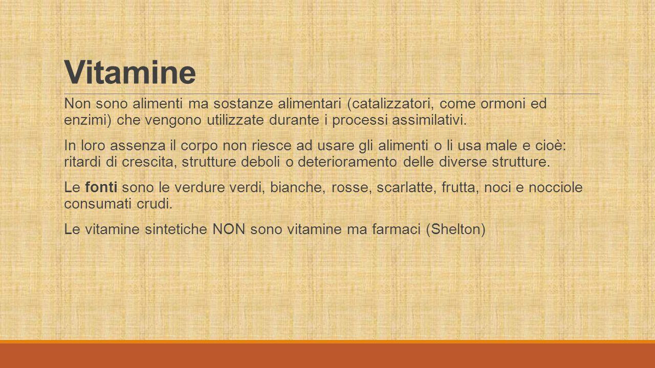 Vitamine Non sono alimenti ma sostanze alimentari (catalizzatori, come ormoni ed enzimi) che vengono utilizzate durante i processi assimilativi.