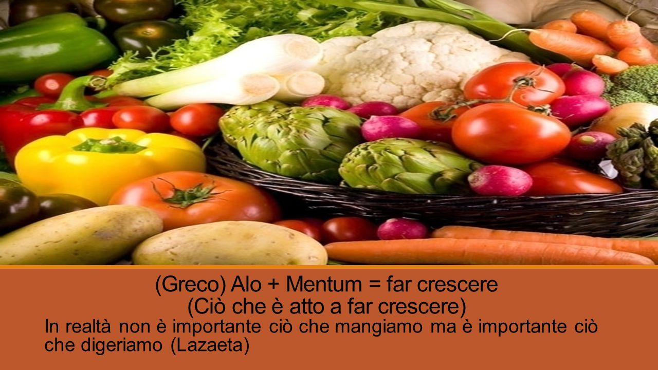 (Greco) Alo + Mentum = far crescere (Ciò che è atto a far crescere) In realtà non è importante ciò che mangiamo ma è importante ciò che digeriamo (Lazaeta)
