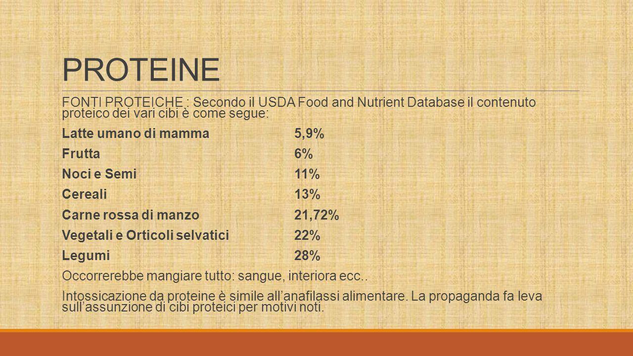 PROTEINE FONTI PROTEICHE : Secondo il USDA Food and Nutrient Database il contenuto proteico dei vari cibi è come segue: Latte umano di mamma5,9% Frutta6% Noci e Semi11% Cereali13% Carne rossa di manzo21,72% Vegetali e Orticoli selvatici22% Legumi28% Occorrerebbe mangiare tutto: sangue, interiora ecc..