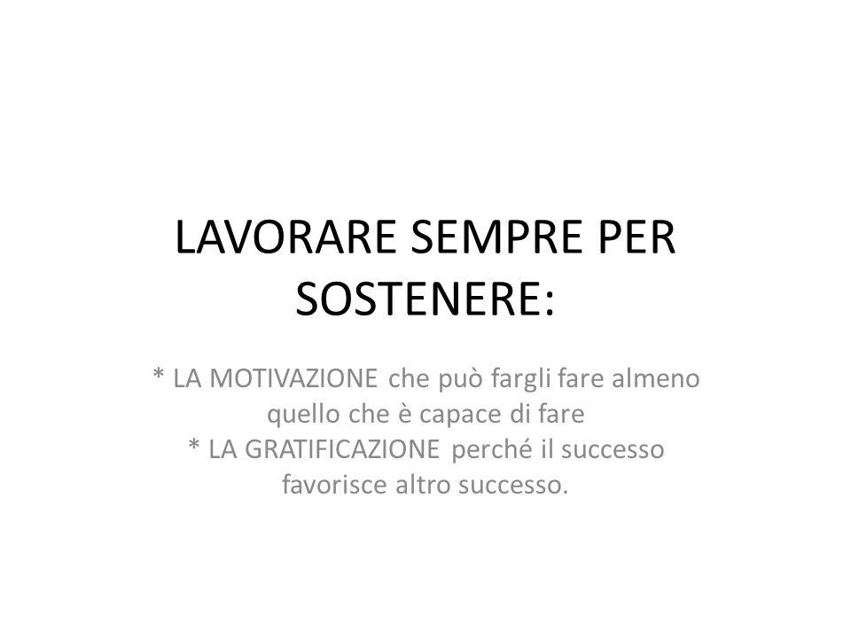 LAVORARE SEMPRE PER SOSTENERE: * LA MOTIVAZIONE che può fargli fare almeno quello che è capace di fare * LA GRATIFICAZIONE perché il successo favorisc
