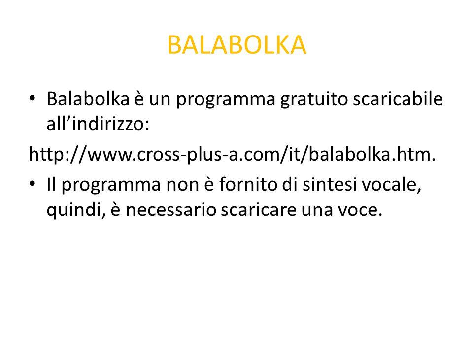 BALABOLKA Balabolka è un programma gratuito scaricabile all'indirizzo: http://www.cross-plus-a.com/it/balabolka.htm. Il programma non è fornito di sin
