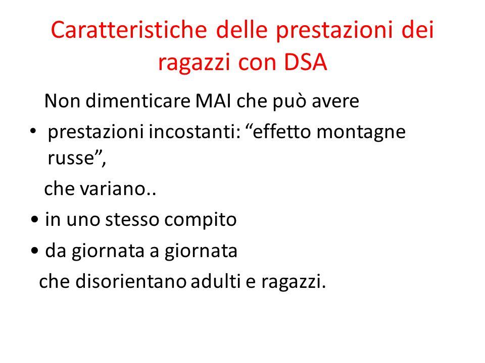 """Caratteristiche delle prestazioni dei ragazzi con DSA Non dimenticare MAI che può avere prestazioni incostanti: """"effetto montagne russe"""", che variano."""