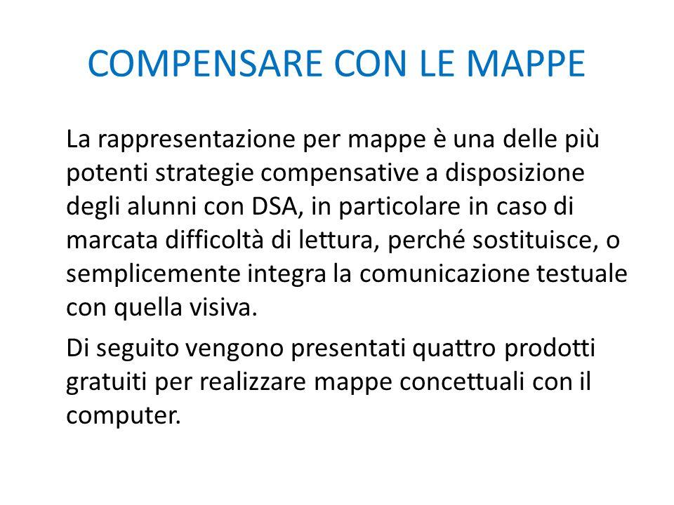 COMPENSARE CON LE MAPPE La rappresentazione per mappe è una delle più potenti strategie compensative a disposizione degli alunni con DSA, in particola