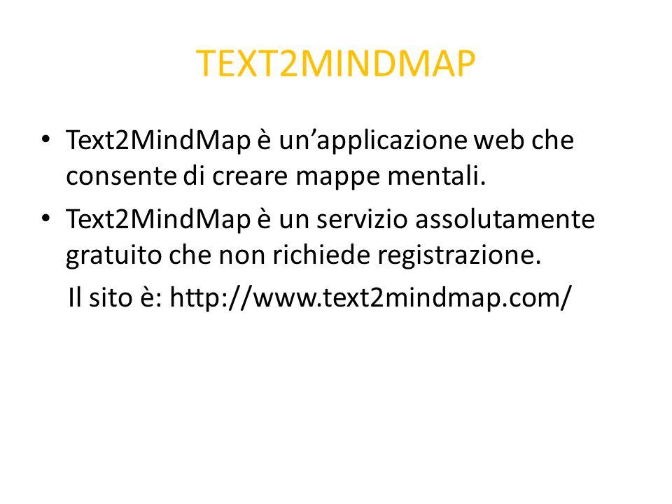 TEXT2MINDMAP Text2MindMap è un'applicazione web che consente di creare mappe mentali. Text2MindMap è un servizio assolutamente gratuito che non richie