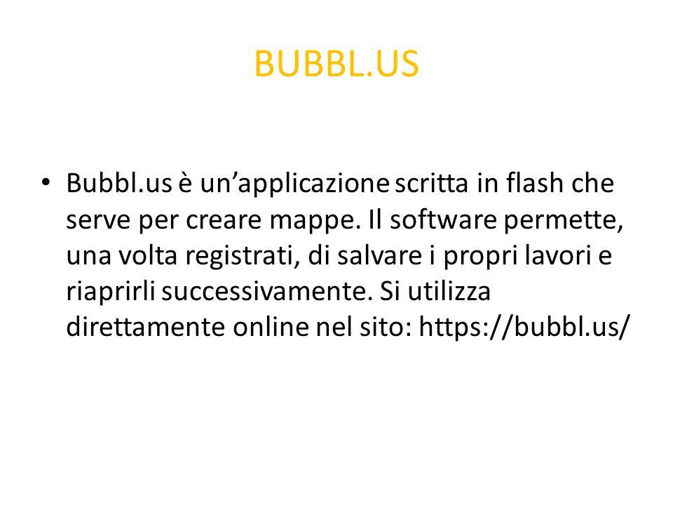 BUBBL.US Bubbl.us è un'applicazione scritta in flash che serve per creare mappe. Il software permette, una volta registrati, di salvare i propri lavor