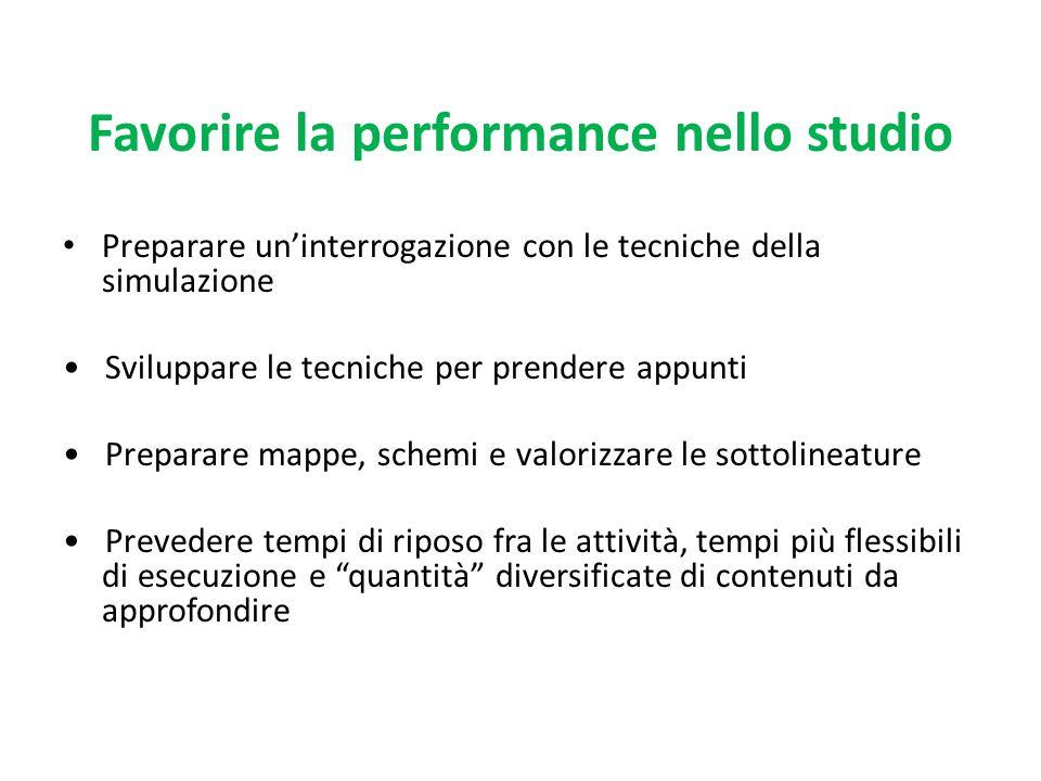 Favorire la performance nello studio Preparare un'interrogazione con le tecniche della simulazione Sviluppare le tecniche per prendere appunti Prepara