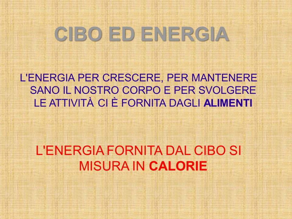 CIBO ED ENERGIA L'ENERGIA PER CRESCERE, PER MANTENERE SANO IL NOSTRO CORPO E PER SVOLGERE LE ATTIVITÀ CI È FORNITA DAGLI ALIMENTI L'ENERGIA FORNITA DA