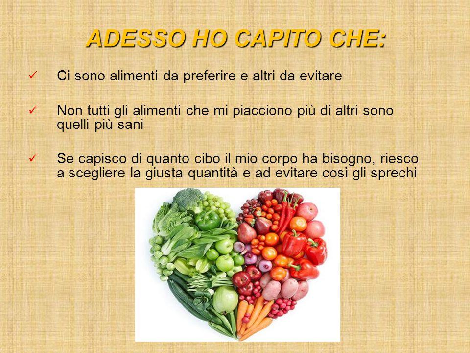 ADESSO HO CAPITO CHE: Ci sono alimenti da preferire e altri da evitare Non tutti gli alimenti che mi piacciono più di altri sono quelli più sani Se ca