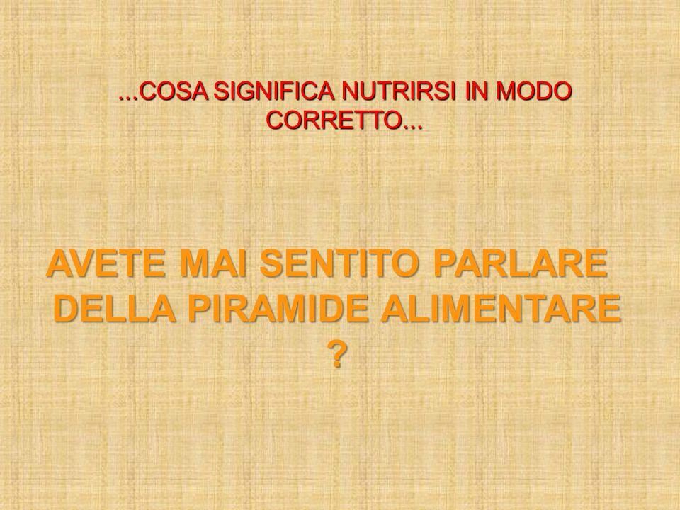 ...COSA SIGNIFICA NUTRIRSI IN MODO CORRETTO... AVETE MAI SENTITO PARLARE DELLA PIRAMIDE ALIMENTARE ?