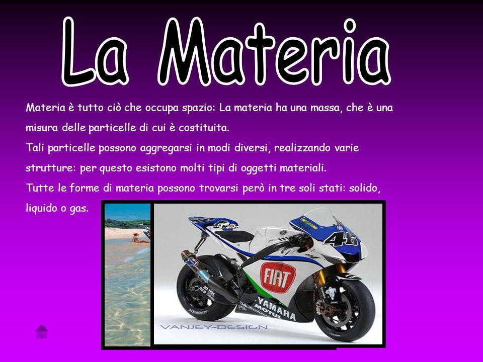 Materia è tutto ciò che occupa spazio: La materia ha una massa, che è una misura delle particelle di cui è costituita.